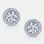 Eva Seamless Halo®Diamond Stud Earrings in Platinum by Jean Dousset
