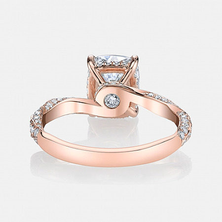 Pirouette Solitaire Engagement Ring in 18k Rose Gold by Jean Dousset