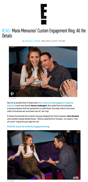 """Maria Menounos' Custom Engagement Ring: All the Details"", E! Entertainment"