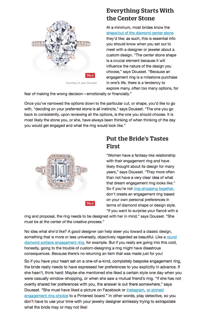 """Should You Get a Custom-Designed Engagement Ring?"", About.com, About Style"