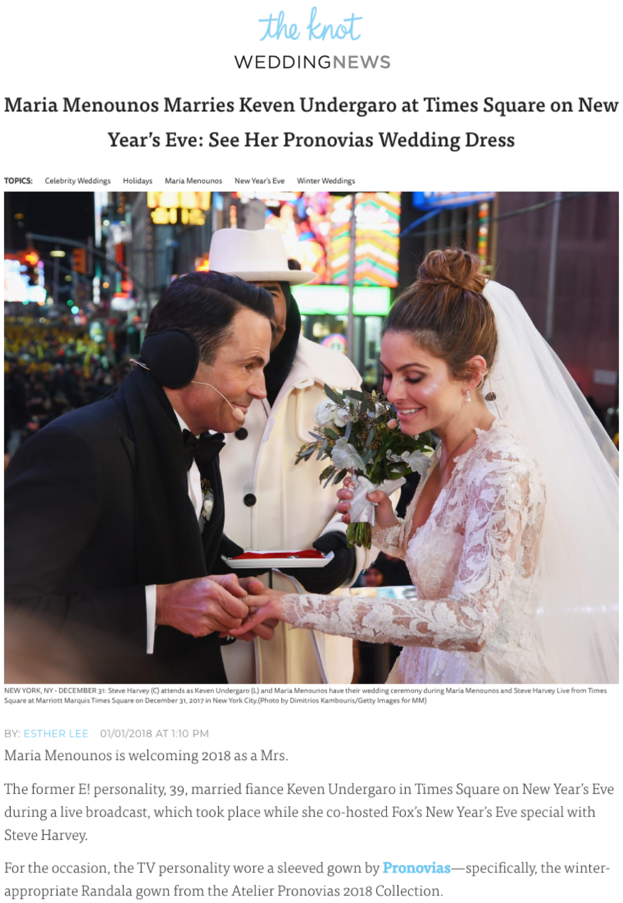 """Maria Menounos Marries Keven Undergaro at Times Square on New Year's Eve"", The Knot"